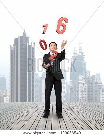 Businessman Catching Throwing 2016 Red Words