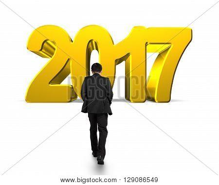 Man Walking Toward 2017 Year