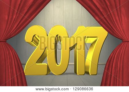 2017 happy new year concept red numbers with stage curtains on old wooden wall and floor background. 3D Rendering