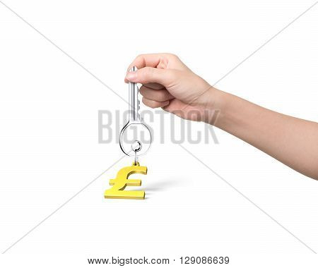 Woman hand holding silver key with golden pound symbol shape keyring isolated on white background. 3D Rendering