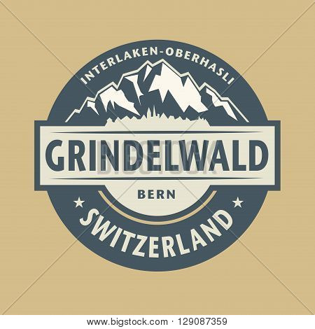 Abstract stamp with the name of town Grindelwald in Switzerland, vector illustration