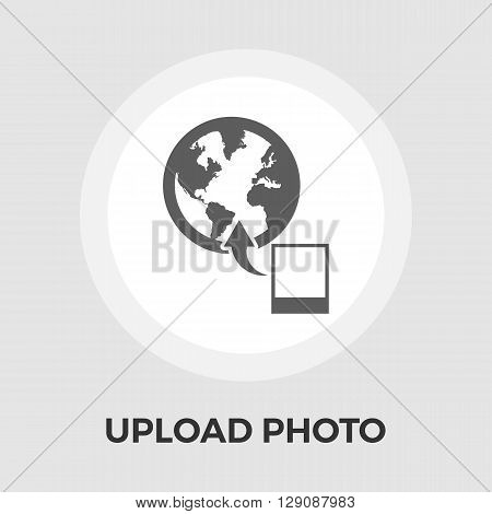 Upload photo icon vector. Flat icon isolated on the white background. Editable EPS file. Vector illustration.