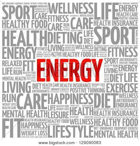 ENERGY word cloud presentation background health concept