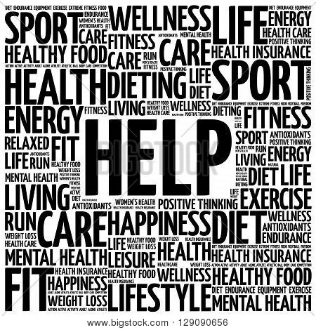 HELP word cloud health concept, presentation background