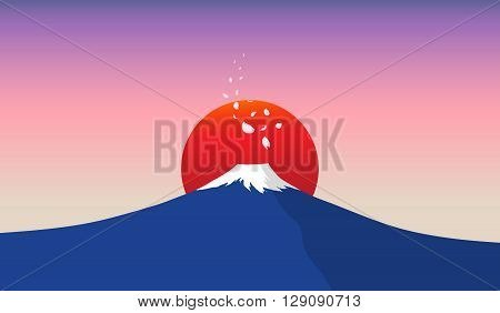 Fuji mountain with falling sakura petals and red sun in background illustration with minimalism style