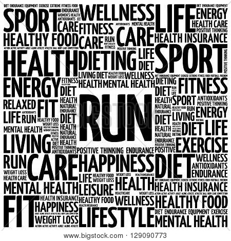 RUN word cloud background health concept, presentation background