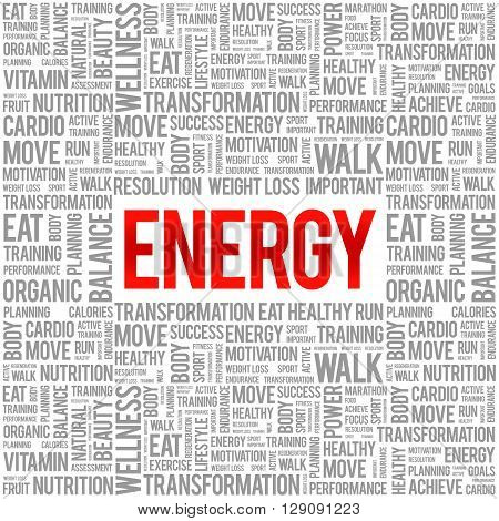 ENERGY word cloud background health concept, presentation background