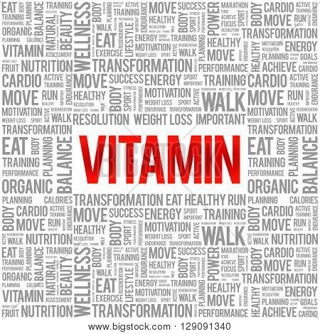 VITAMIN word cloud background health concept, presentation background