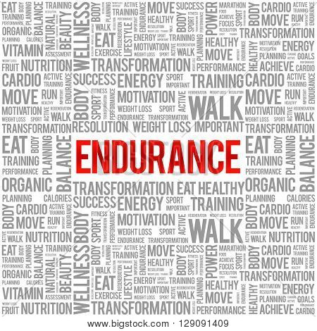 ENDURANCE word cloud background health concept, presentation background