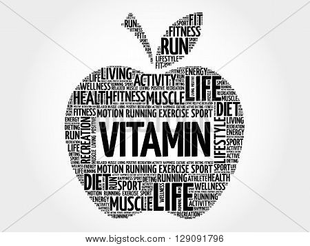 VITAMIN apple word cloud health concept, presentation background