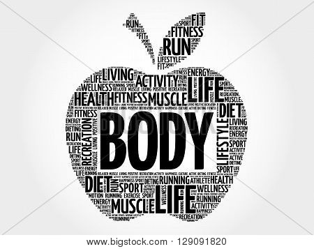 BODY apple word cloud health concept, presentation background