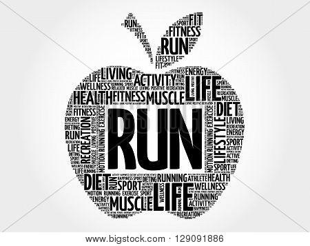 RUN apple word cloud health concept, presentation background