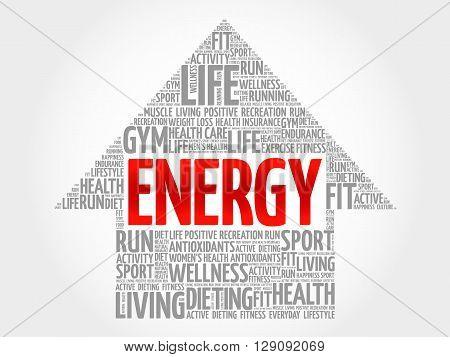 ENERGY arrow word cloud health concept, presentation background