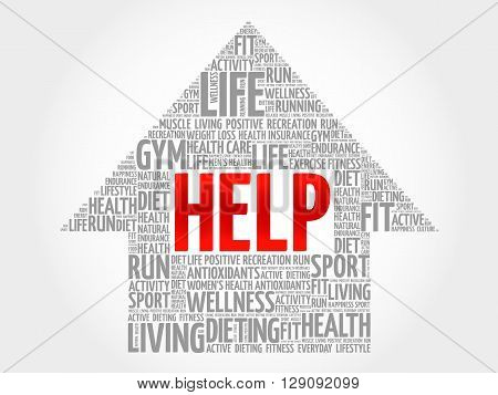 HELP arrow word cloud health concept, presentation background