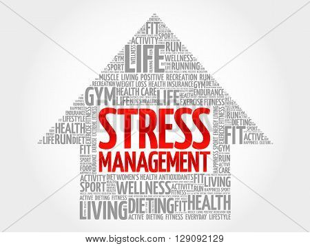 Stress Management arrow word cloud health concept