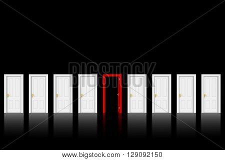 Open Red Door in Row of White Doors on Black Background with space for text - 3D Illustration
