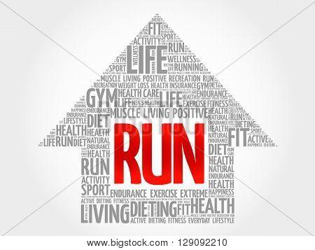 RUN arrow word cloud health concept, presentation background