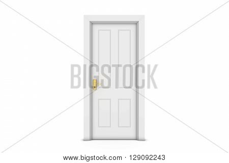Closed White Door Isolated on White 3D Illustration