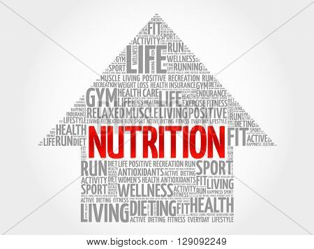 Nutrition arrow word cloud health concept, presentation background