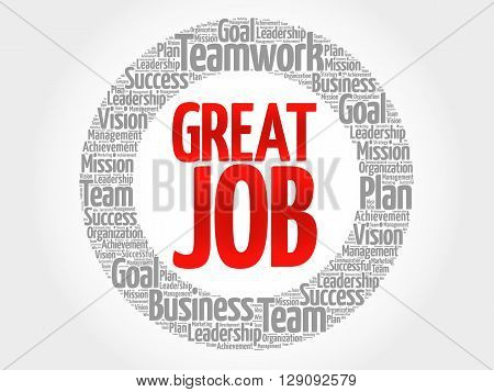 Great Job Circle Word Cloud