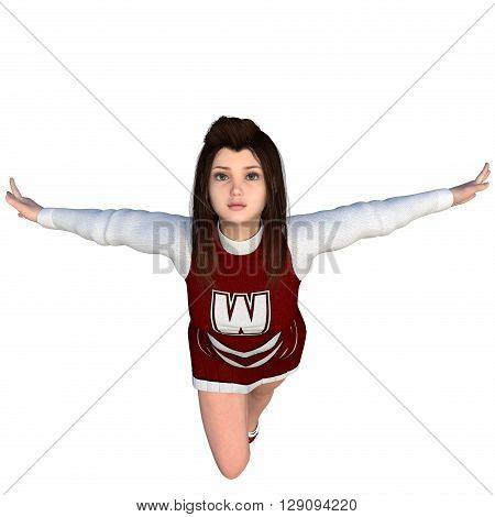 One young girl in white-red uniform of the cheerleader. Prepares to jump. White background. 3D rendering, 3D illustration