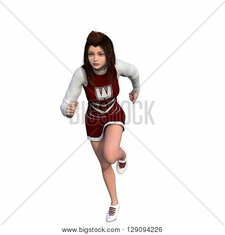 One young girl in white-red uniform of the cheerleader. Runs. White background. 3D rendering, 3D illustration