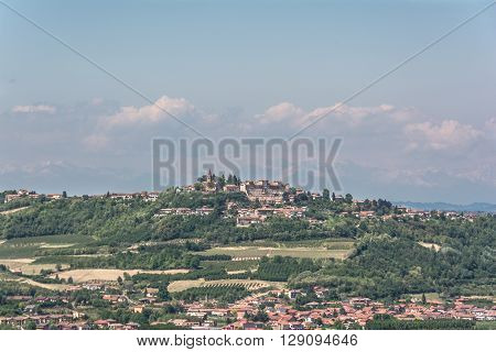 Langhe,Piedmont,Italy,Europe - May 3, 2016 :  View of Magliano Altieri village on the Langhe hills