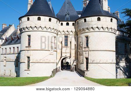 Entrance to the castle of Chaumont Sur Loire, Loire Valley, France.