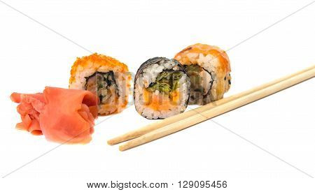 sushi isolated on white background, slice, snack,