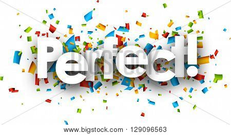 Perfect paper background with color confetti. Vector illustration.