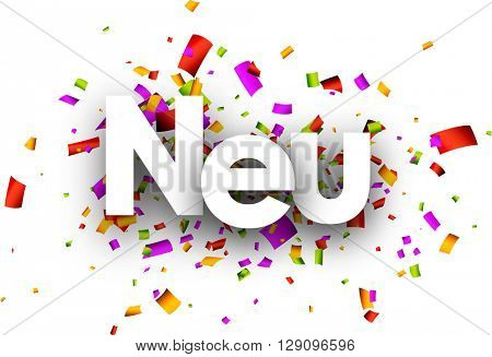 New paper banner with color confetti, German. Vector illustration.