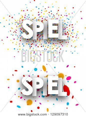 White clearance paper banners with color drops, German. Vector illustration.