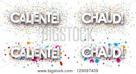 White hot paper banners set, Spanish, French. Vector illustration.