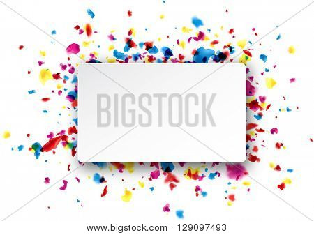 Paper rectangular white background with color painted drops. Vector illustration.