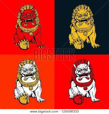 Handdrawn oriental tiger asian lion chinese temple guard
