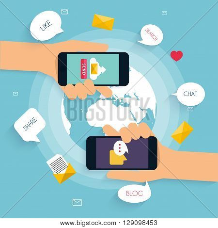 Hand holding smart phone in hand with email social network. Message send on mobile phone. Email marketing. Flat design style modern vector illustration concept.