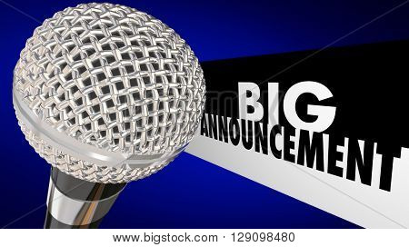 Big Announcement Important News Update Message Microphone 3d Illustration