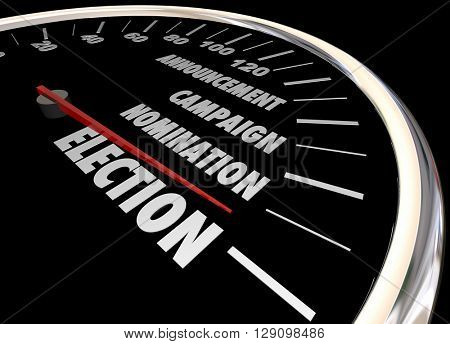 Election Voting Democracy Campaign Nomintation Speedometer 3d Illustration