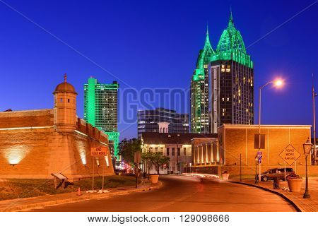 Mobile, Alabama, USA skyline with historic Fort Conde.