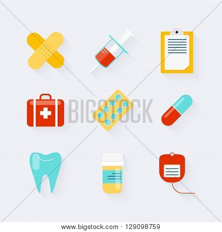 Medicine Icons Set In Flat Design. Elements Of Medicine, Health, Hospital, Immune System Analysis, G
