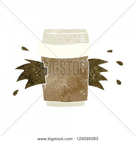 freehand retro cartoon exploding coffee cup
