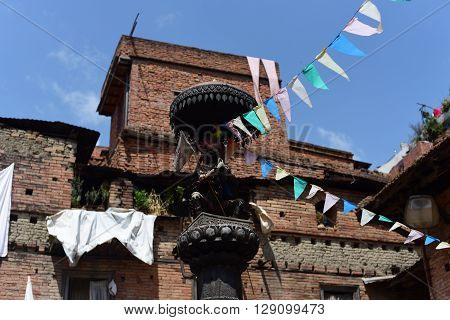 BHAKTAPURNEPAL-April 2015: view of town at Bhaktapur Durbar square before earthquake in April 2015