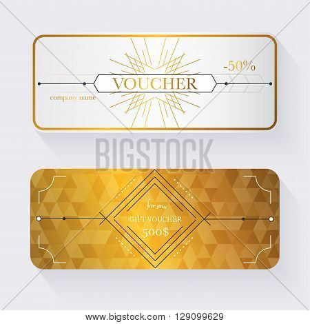 Gift voucher template with gold pattern Gift certificate. Background design gift coupon voucher certificate invitation currency. Collection gift certificate. Vector illustration.