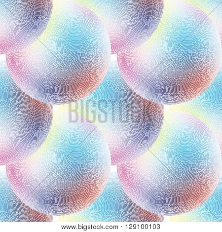 Vector seamless pattern of unusual blue and white balls
