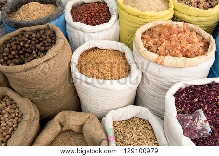 Spices for sale in the spice souk at Deira. UAE Dubai