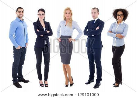 Full Length Portrait Of Young Business People Isolated On White
