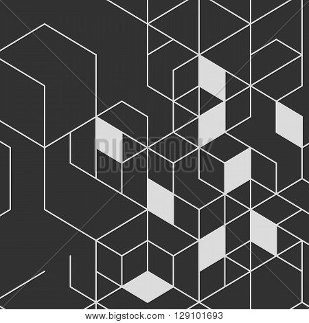 Vector abstract background with cube cell. Modern technology illustration with square mesh. Digital geometric abstraction with thin lines.