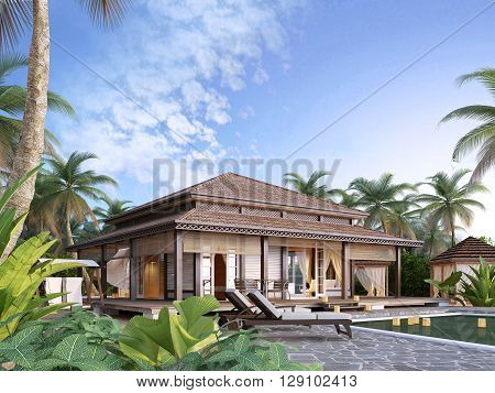 Large luxury bungalows on the islands. 3D render.