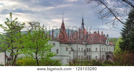 Panorama of the former Carpathian residence and house hunting of Count Schonborn of the 19th century in the early spring morning. Chynadiyovo Ukraine.