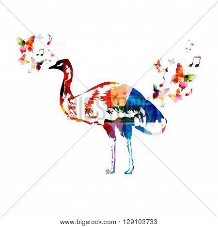 Vector illustration of colorful emu with butterflies